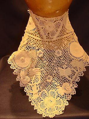 Antique Handmade Irish Crochet Collar C1890 3D Designs