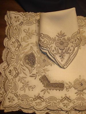 Exquisite 16pc Set Italian Ecru Linen Placemats Napkins HandEmb Drawnwork Lace