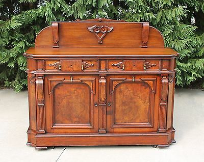 Victorian Renaissance Revival Walnut & Burl Sideboard Buffet with Wine Storage