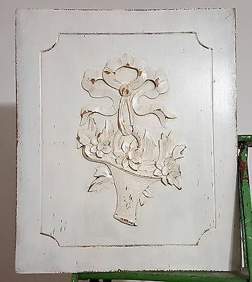 SHABBY CARVED WOOD BOW FLOWER BASKET PANEL ANTIQUE FRENCH SALVAGED CARVING 19th