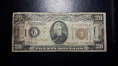 1934-A Series $20 Hawaii Emergency Federal Reserve Issue Notes WW2 Very Fine