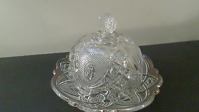 Vintage Cut Glass Covered Butter Dish Covered Cheese Dish w/ Star Design