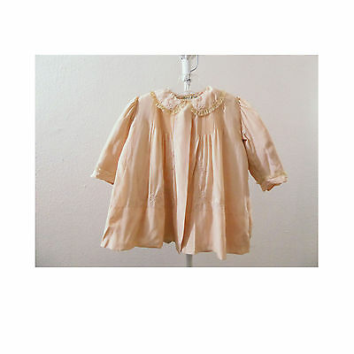 Vintage Victorian Baby Girls coat Pink Silk Pintuck Quilted 2 pc Dress Edwardian