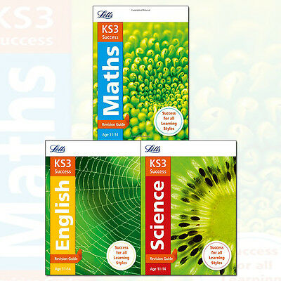 Letts KS3 Revision Success 3 Books Collection Set KS3 Maths,KS3 English,Science