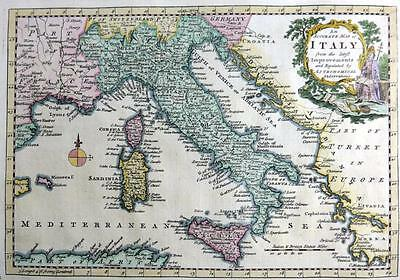 ITALY COPPER ENGRAVED MAP AFTER THOMAS BOWEN  GENUINE ANTIQUE  c1765