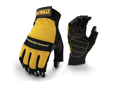 DeWalt DPG23L EU Fingerless 1/2 Synthetic Padded Leather Palm Gloves - Large