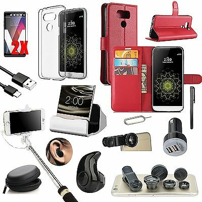 Red Leather Case Cover Bluetooth Headset Monopod Fish Eye Accessory For LG G6