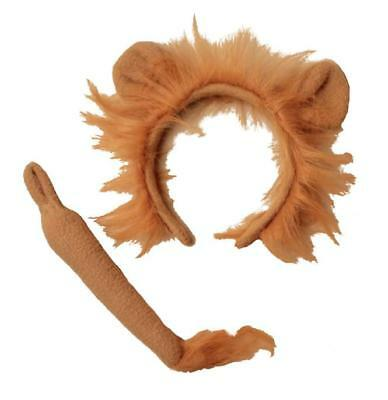 Lion Mane Headband Aliceband & Tail Costume - Kids Animal Party Fancy Dress Up