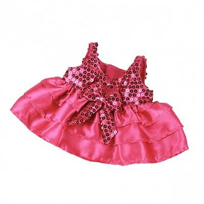 Pink Sequin & Satin Dress outfit teddy Bear clothes fits Build a Bear