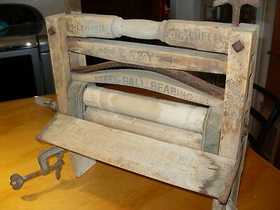 Antique Primitive 1889 Country Easy Wood Iron Wash Tub Clothes Wringer