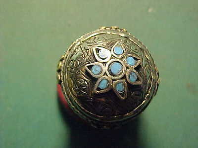 Near Eastern hand crafted ring  turquoise inserts   circa 1700-1900