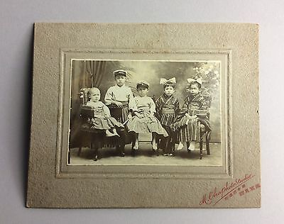 pair of Japanese Children  group   photo . Early 20 th c  I38