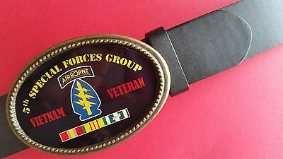 Vietnam Veteran 5th SPECIAL FORCES GROUP Epoxy Buckle & Black Bonded Leather Bel