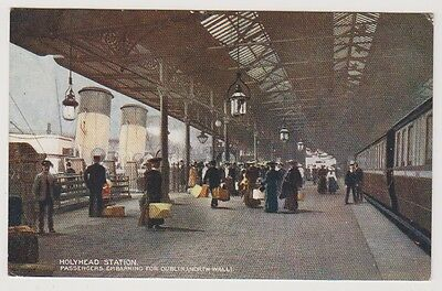 Wales postcard - Holyhead Station, Passengers Embarking from Dublin (L&NW)