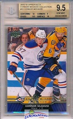 2015/2016 UD Connor McDavid Collection #22 ROOKIE BGS 9.5 GEM MINT Oilers !!