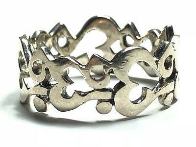 Beautiful Ladies Solid Sterling Silver Allah Kabah Ring Band - Sz 9 - FREE S&H