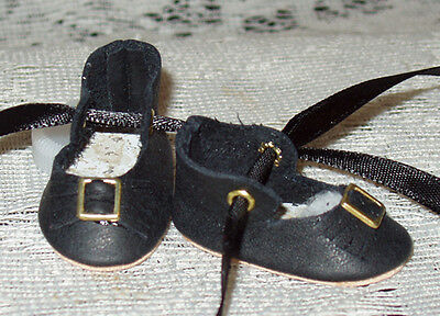 For Bleuette~Handmade Leather Doll Shoes ~German Style~Black