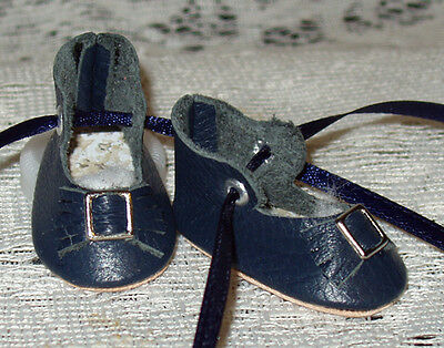 For Bleuette~Handmade Leather Doll Shoes ~German Style~Navy Blue