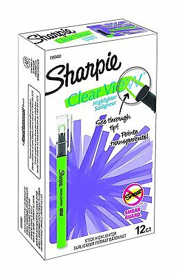 Sharpie Clear View Highlighter Stick, Fine Chisel Tip, Green, Pack of 12
