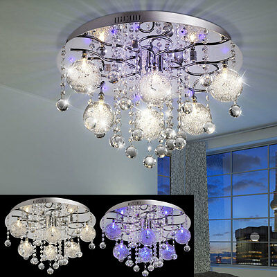 Deco LED ceiling lamp Chrome Glass Ball Remote control Living Room Crystal Lamp