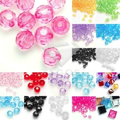 Acrylic Bicone Beads Faceted Transparent Jewellery Making 4/8/10/12mm Wholesale