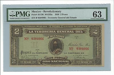 1916 2 Pesos Mexico Revolutionary Note (PMG CU 63) Pick# S1136 (4342)