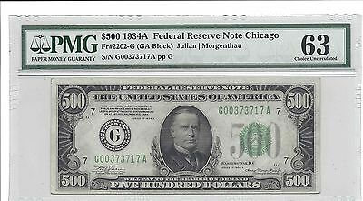 1934 A $500 FRN Chicago (PMG 63 Choice Uncirculated) Fr#2202-G US Note 9144