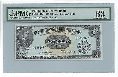 1949 2 Pesos Philippines Central Bank (PMG CU 63) Pick# 134d (4355)