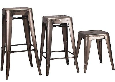 Tolix Metal Bar Stool Steel Industrial Breakfast Bar Cafe Garden