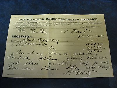 Vintage 1891 The Western Union Telegraph Company H Waltz