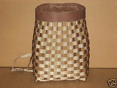Longaberger Taupe Backpack To Go Basket w/straps, MINT never used FREE shipping!