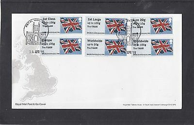 GB 2015  Post & Go Frama Union Flag FAAM overprint Col Strip reel A03 FDC Bath p