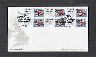 GB 2015  Post & Go Frama Union Flag FAAM overprint Col Strip A03 FDC Salisbury