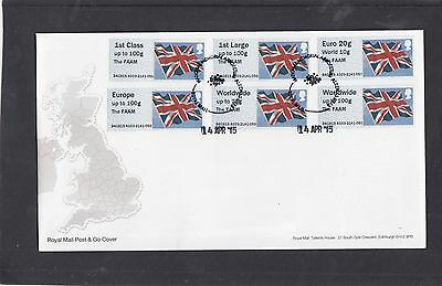 GB 2015  Post & Go Frama Union Flag FAAM overprint Col Strip  A03 FDC Alrewas pk