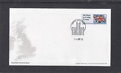 GB 2015  Post & Go Frama Union Flag FAAM overprint 1st class stamp A03 FDC Bath