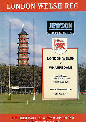 London WelshvWharfedale 21 Mar 1998 RUGBY PROGRAMME