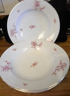 Antique Carlsbad China Austria..three Large Soup Bowls. Pink Flowers & Gold Trim