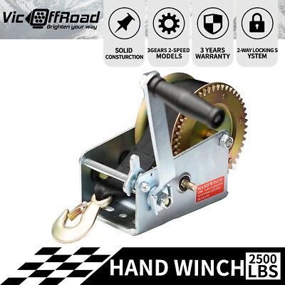 2500LBS Hand Winch 2-Speed Synthetic Strap Manual Car Boat Trailer 4WD 1136Kgs