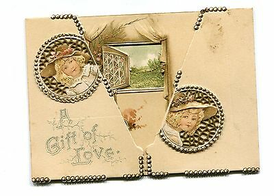 Vintage VALENTINE Card Gift of Love multi-flap opening