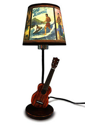Hawaiian Hand Painted Hula Lamp Ukulele Poly Resin Base Vintage Fabric Shade 18""