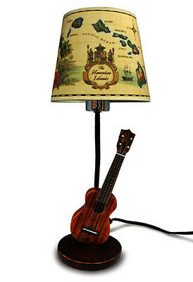 Hawaiian Hand Painted Hula Lamp Ukulele Poly Resin Base Islands Fabric Shade 18""