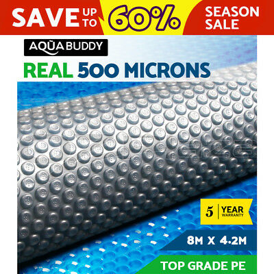 Solar Swimming Pool Cover 500 Micron Outdoor Bubble Blanket 8M x 4.2M 2 YR WRTY