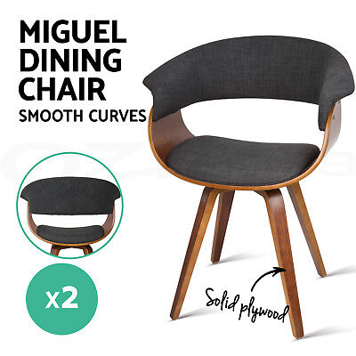 2x MIGUEL Dining Chair Bentwood Wooden Timber Kitchen Home Cafe Fabric Charcoal