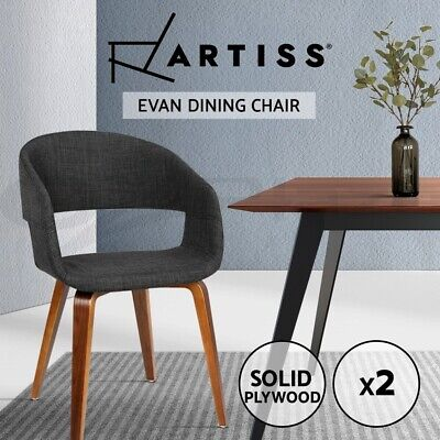 2x EVAN Dining Chair Bentwood Wooden Timber Kitchen Home Cafe Fabric Charcoal