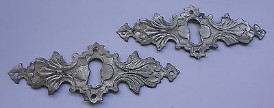 Original Antique Stamped Leaf Brass ? Keyhole cover Escutcheon x 2 Free Shipping