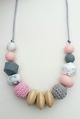 Silicone teething beads necklace baby gift sensory jewellery teether Eva Pink