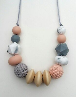 Silicone teething beads necklace baby gift sensory jewellery teether Eva Peach