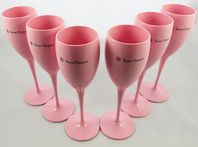 Yellow Label Flute Acrylic Rosé - Champagne Veuve Clicquot Brand New Set of 6