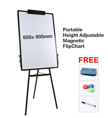 Portable Flipchart Whiteboard adjustable Easel magnetic Floor T Type 60*90cm