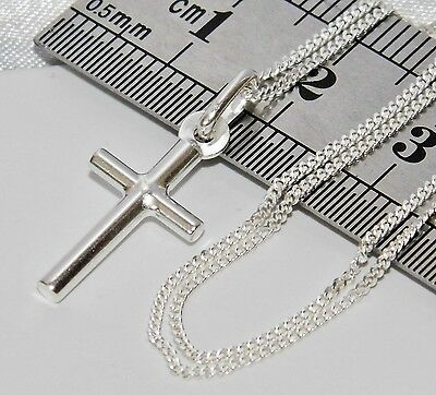 Solid Sterling Silver (925) Plain Cross Pendant & 18 inch Chain